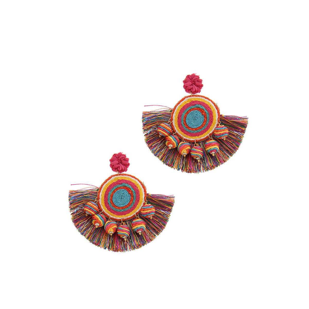 Fashion Fan Tassel Drop Earring, Turquoise