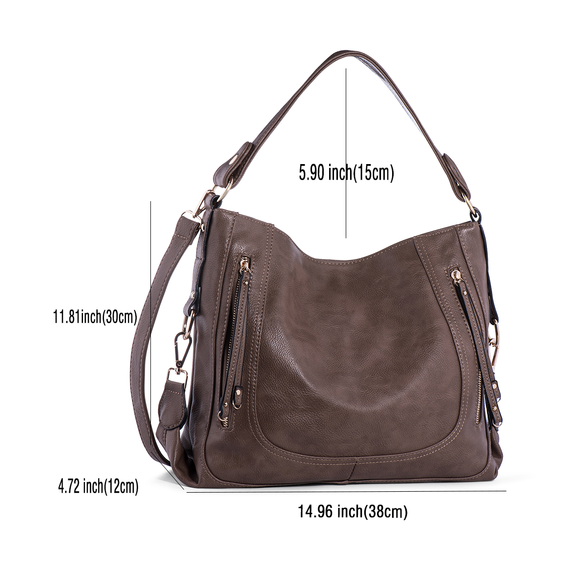 Handbags for Women,UTAKE Women's Shoulder Bags PU Leather Hobo Handbags Top-Handle Purse For Ladies Grey Brown