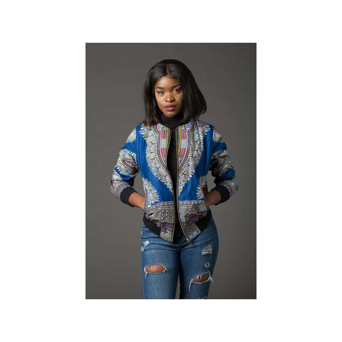 African printed short coat women, Blue / S