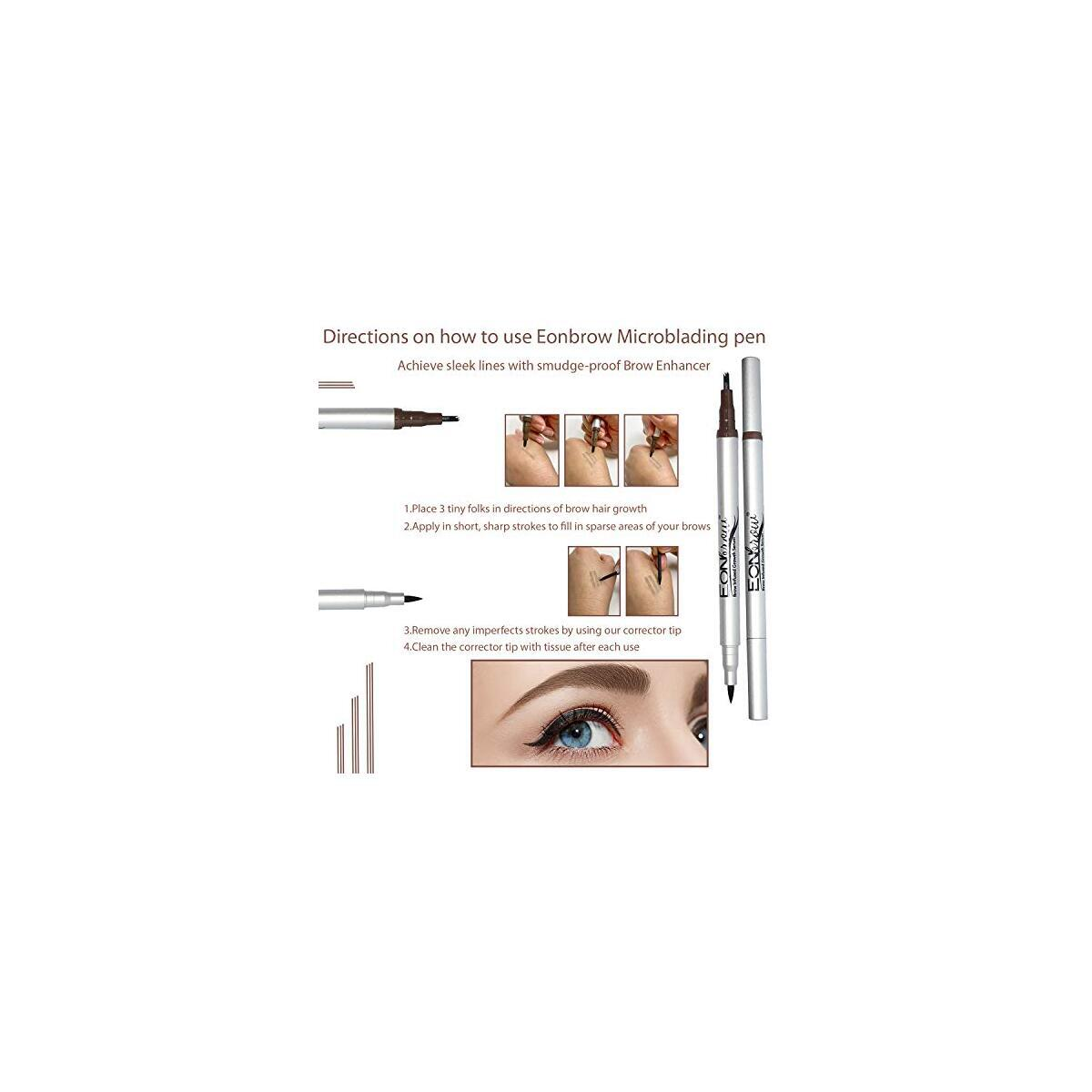 Eonbrow Eyebrow Pen & Growth Serum - Microblading Eyebrow Pen - Hypoallergenic, Paraben Free and Fragrance Free - Smooth lines, Easy Coloring, Natural Color Effect - 24 Hour Treatment