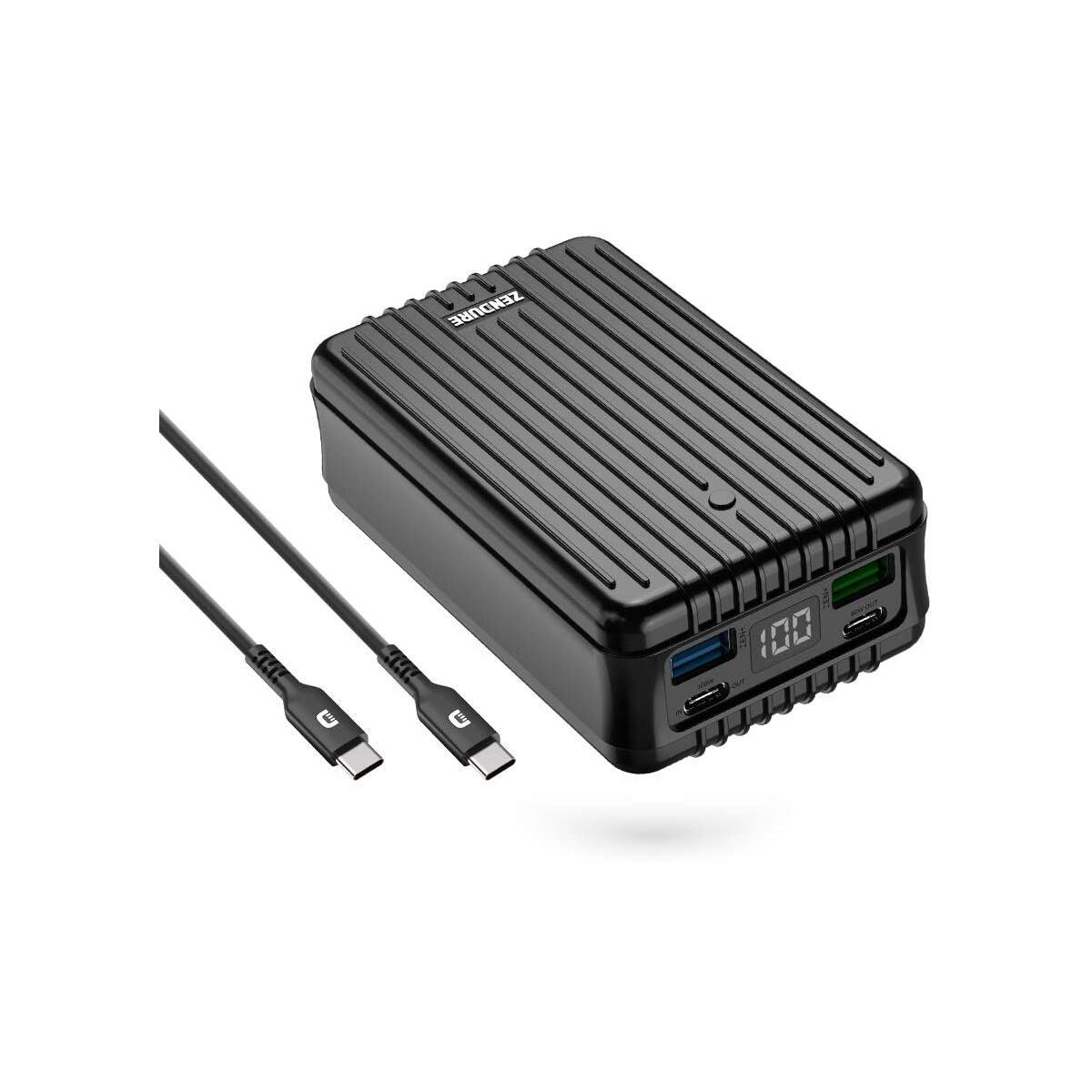 Zendure Power Bank, SuperTank 27,000mAh External Battery with Dual USB-C PD (100W&60W) and USB-A (15W&18W), QC 3.0 Portable Charger for USB-C laptops, MacBook, iPad Pro, Switch, etc.-Black
