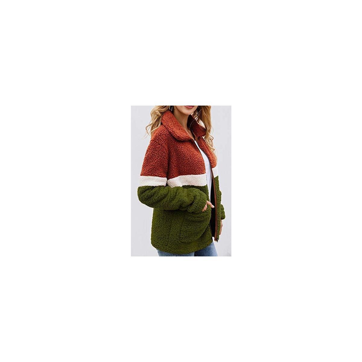 Womens Faux Fur Fleece Sherpa Fluffy Zipper Long Sleeve Open Front Coat Contrast Color Block Outwear with Pockets Army