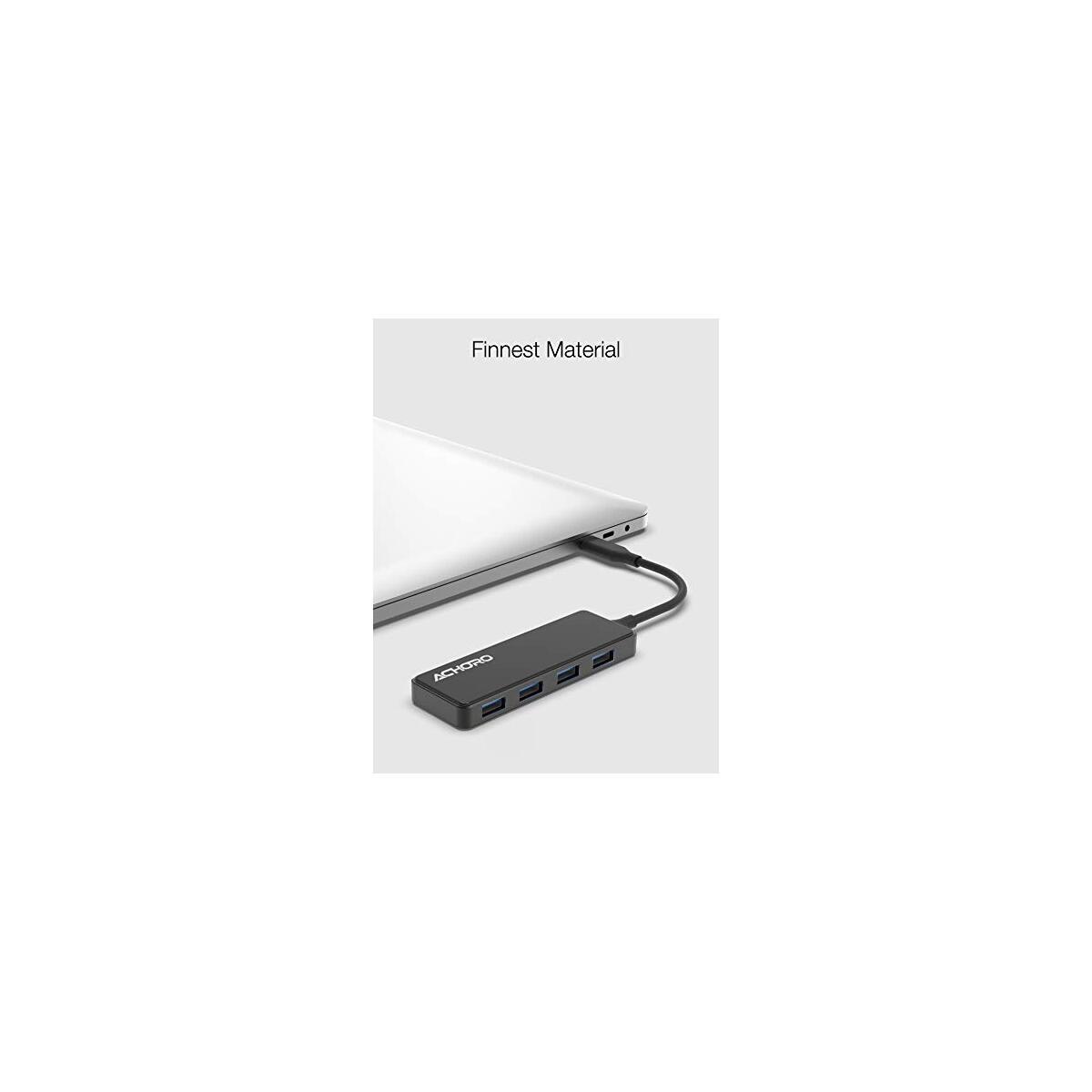ACHORO Premium Quality 4 USB Ports Data Transfer Hub - Tempered Glass & Polished Zinc Alloy Material - USB 3.0 High-Speed Data Transfer Slim USB Hub