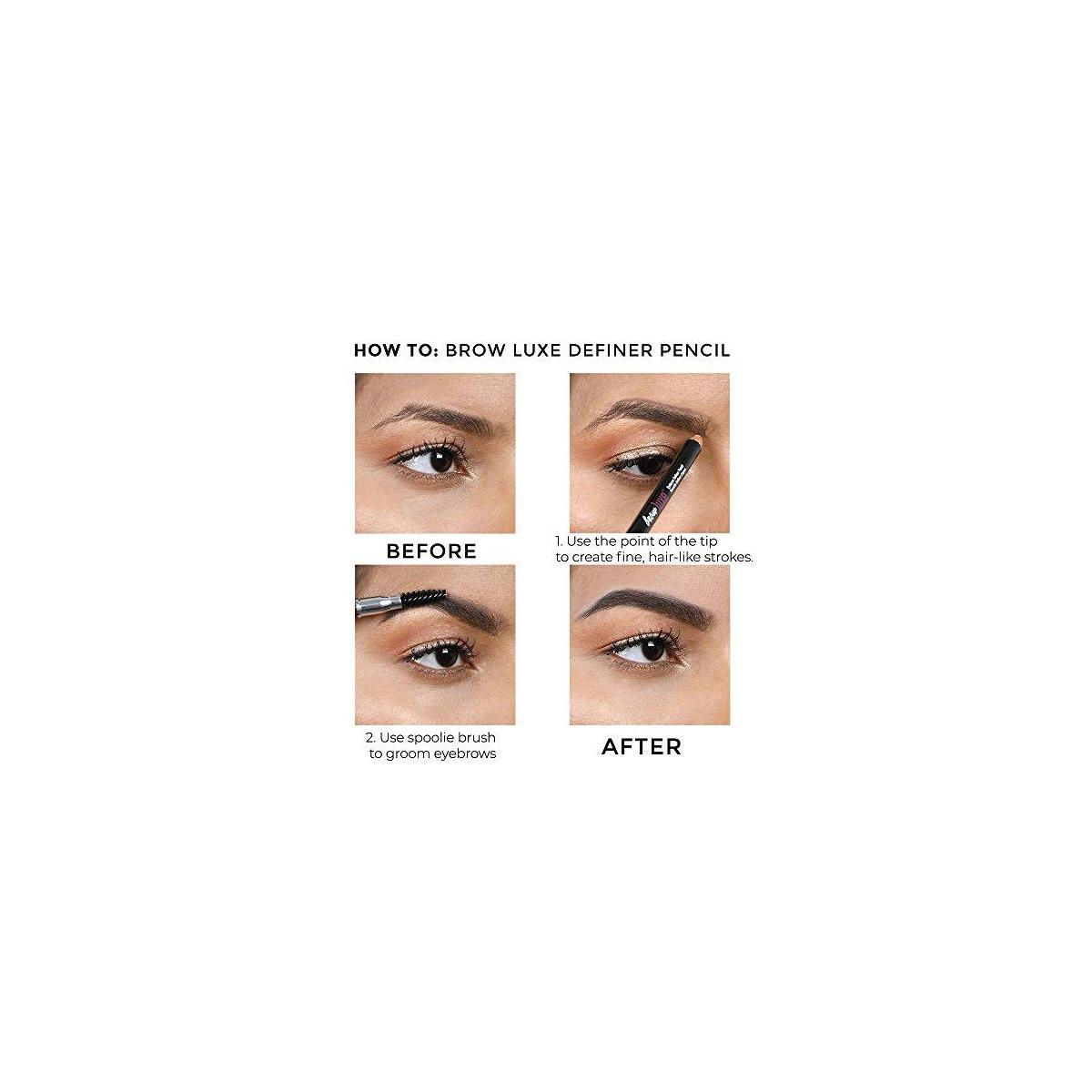 Brow Luxe Definer Pencil by True + Luscious - Vegan, Paraben Free, Cruelty Free Eyebrow Pencil with Sweat-Proof Formula - 0.07 oz (Shade: Caramel)