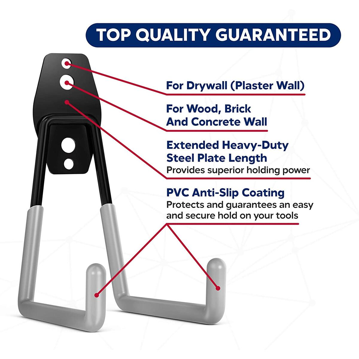 Garage Storage Hooks Heavy Duty 14 Pack – Wall Mount Garage Utility Hooks and Hangers Anti-Slip Coating Tool Hooks for Ladders, Bikes, Power Tools, Shovels and Strollers by AnMark