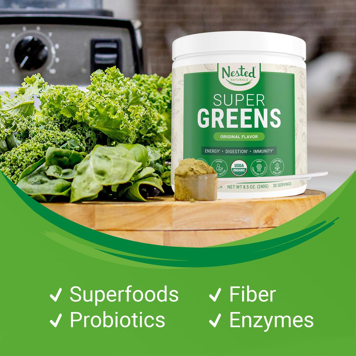 Nested Naturals Super Greens | 100% USDA Organic Non-GMO Vegan Supplement