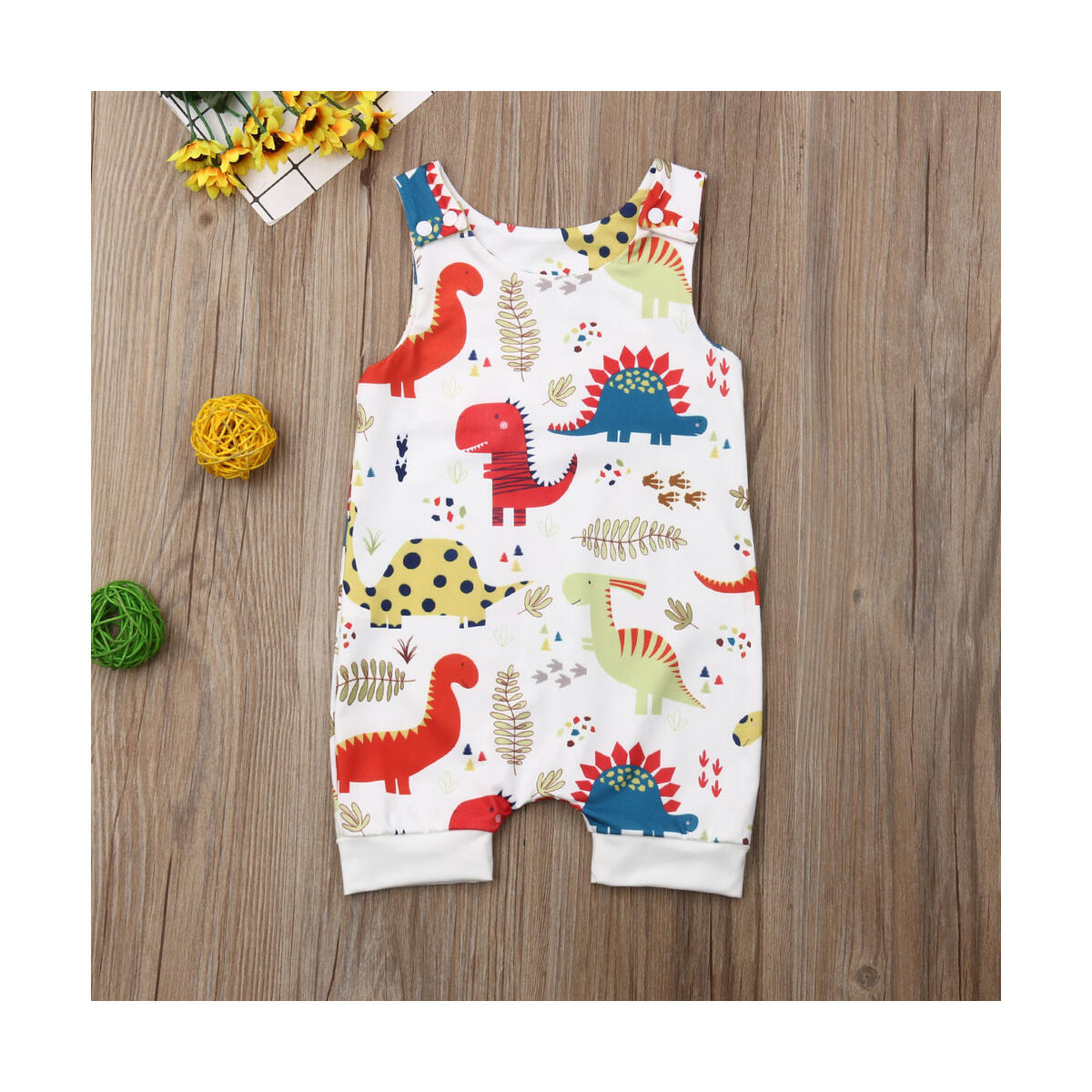 Newborn Infant Baby Boy Girl Clothes Dinosaur Sleeveless Romper One-Piece Bodysuit Jumpsuit Outfits Clothing