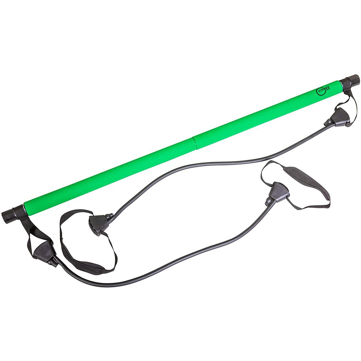 Fitnessnake Pilates Bar with Resistance Bands - Adjustable Resistance Bands - Portable Yoga Bar - Suitable For All Body Heights - Easy to Assemble Kit - For Men & Women