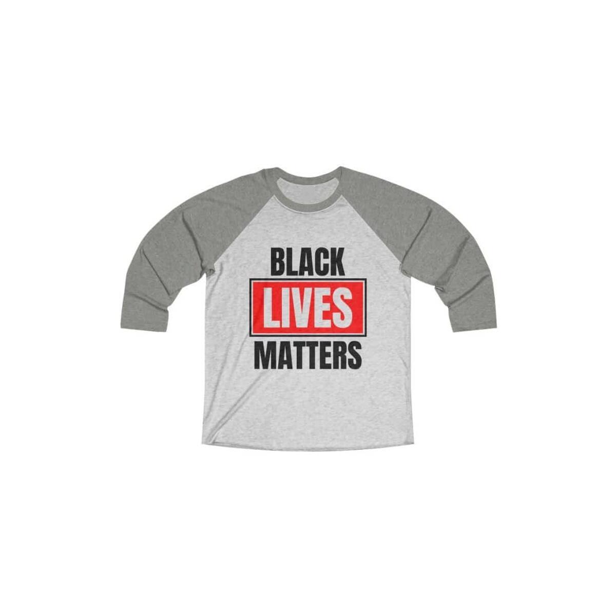Afrocentric Black Lives Matters Tri-Blend Raglan Tee, Venetian Grey / Heather White / M