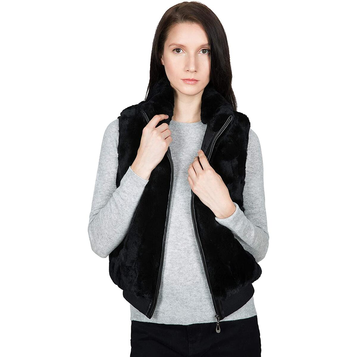 OBURLA Women's 100% Real Rex Rabbit Fur Vest - Warm Sleeveless Fur Jacket with Zipper and Genuine Leather Accent