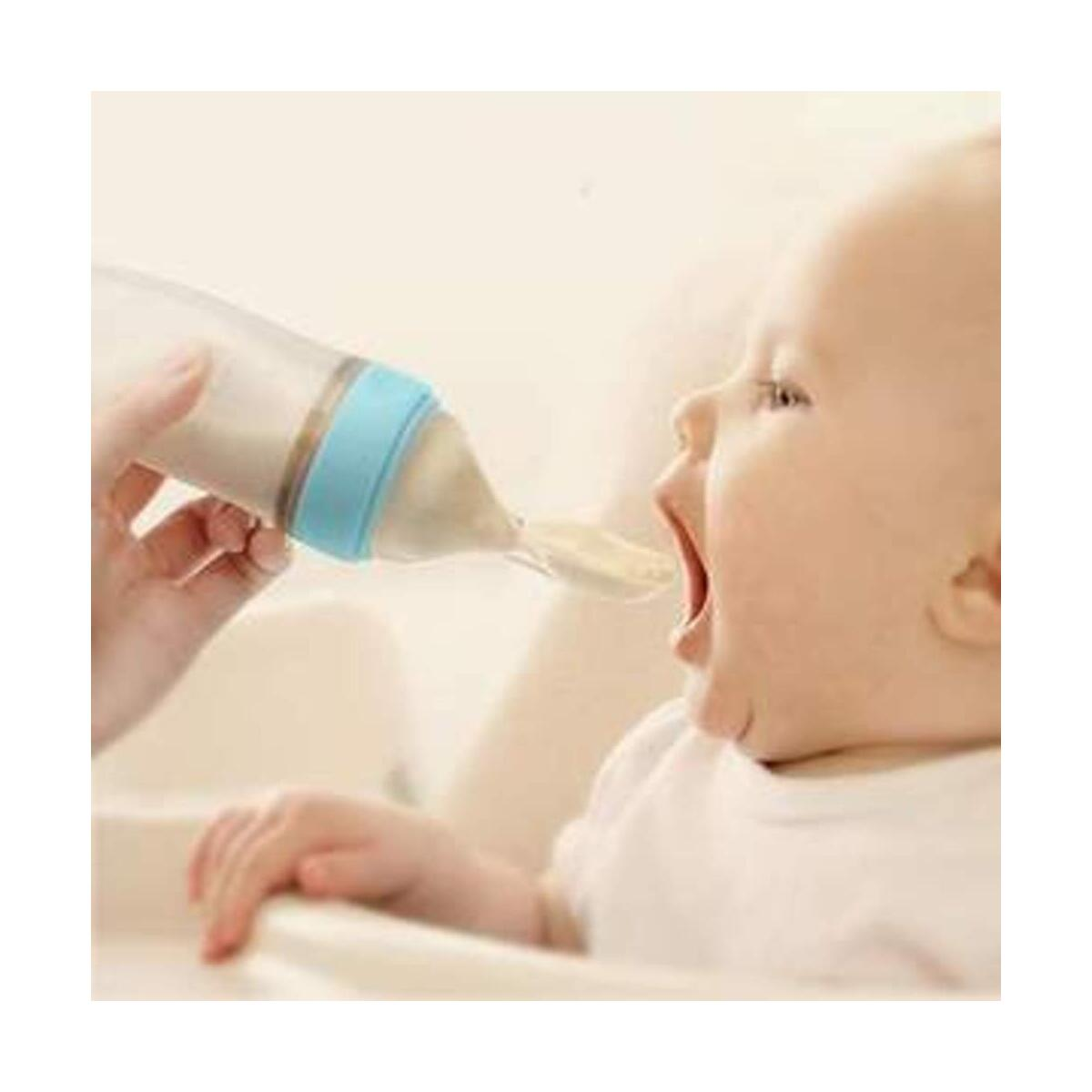Baby Squeezing Feeding  Spoon Silicone Training Scoop Rice Cereal Food Tableware Supplement Feeder Extrusion