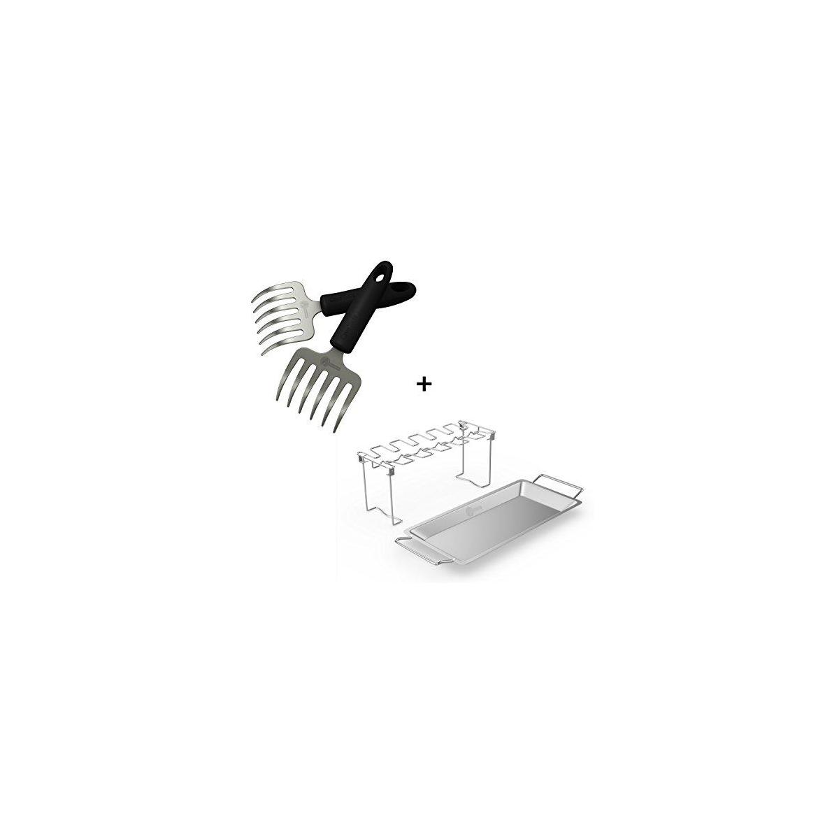 Pulled Pork Shredder Rakes + Chicken Wing & Leg Rack For Grill Smoker or Oven - Stainless Steel Roaster Stand & Drip Pan For Cooking Vegetables In BBQ Juices - Dishwasher Safe Barbecue Accessories