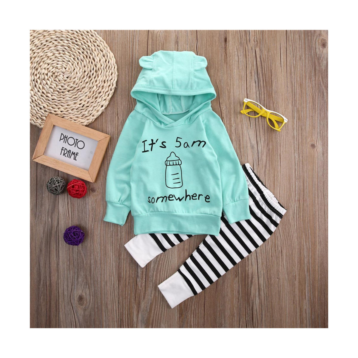 It's 5am Somewhere Toddler Baby Boy Girls Clothes Sets Cotton Outfit