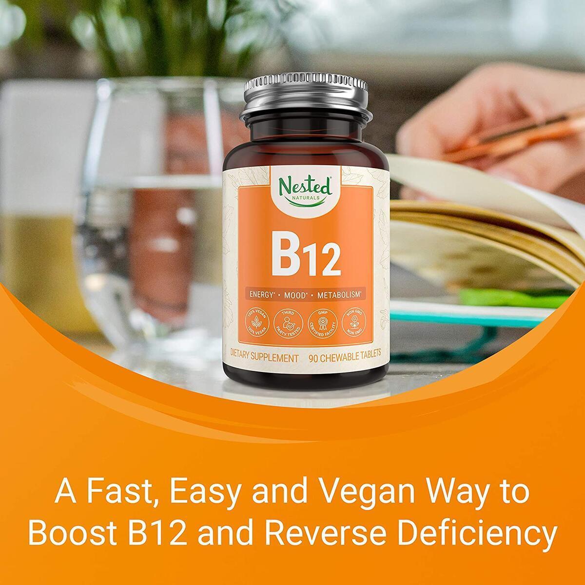 Nested Naturals Vegan Vitamin B12 2500mcg (Methylcobalamin) | Support Metabolism and Nervous System Health | Fast Dissolve Chewable Tablets