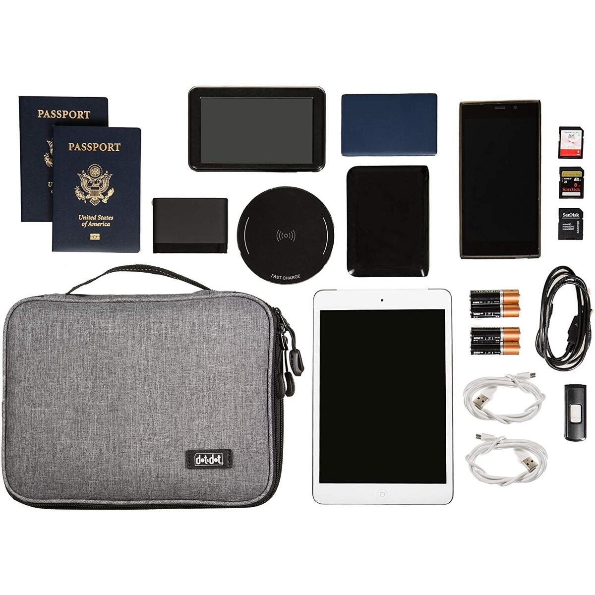 Dot&Dot Travel Tech Organizer - Electronic Cord Organizer Travel Carrying Case for Charger, Cable, Cell Phone, Gadget, Computer Accessories, Electronics - Portable Charge Cord Management Pouch
