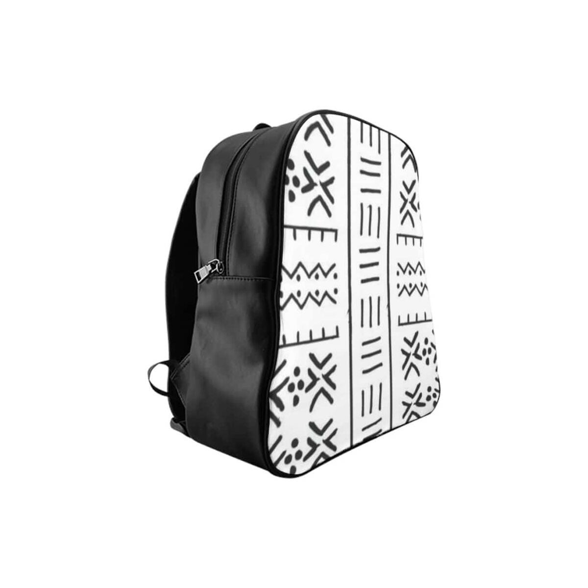 Black/White African Mud cloth School Backpack, Medium