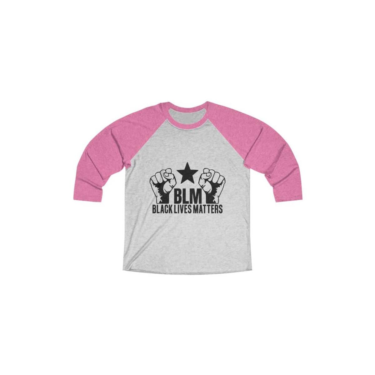 Afrocentric BLM Tri-Blend Raglan Tee, Vintage Pink / Heather White / 2XL