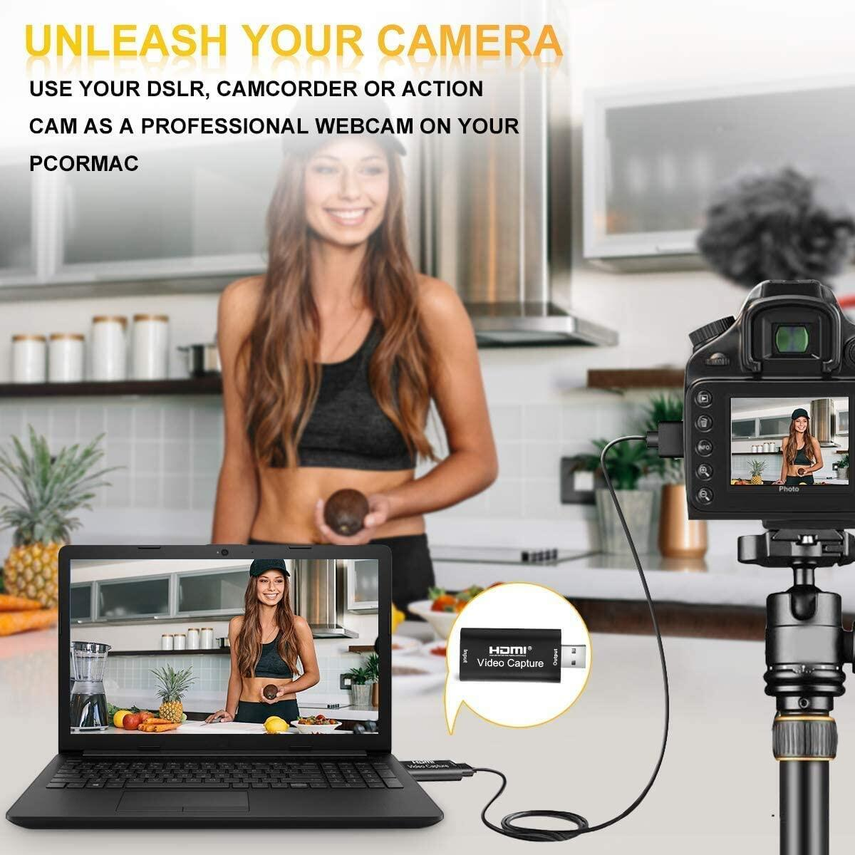 MOBIMIKE Audio Video Capture Card HDMI to USB, Record via DSLR Camcorder Action Cam for High Definition Acquisitio.
