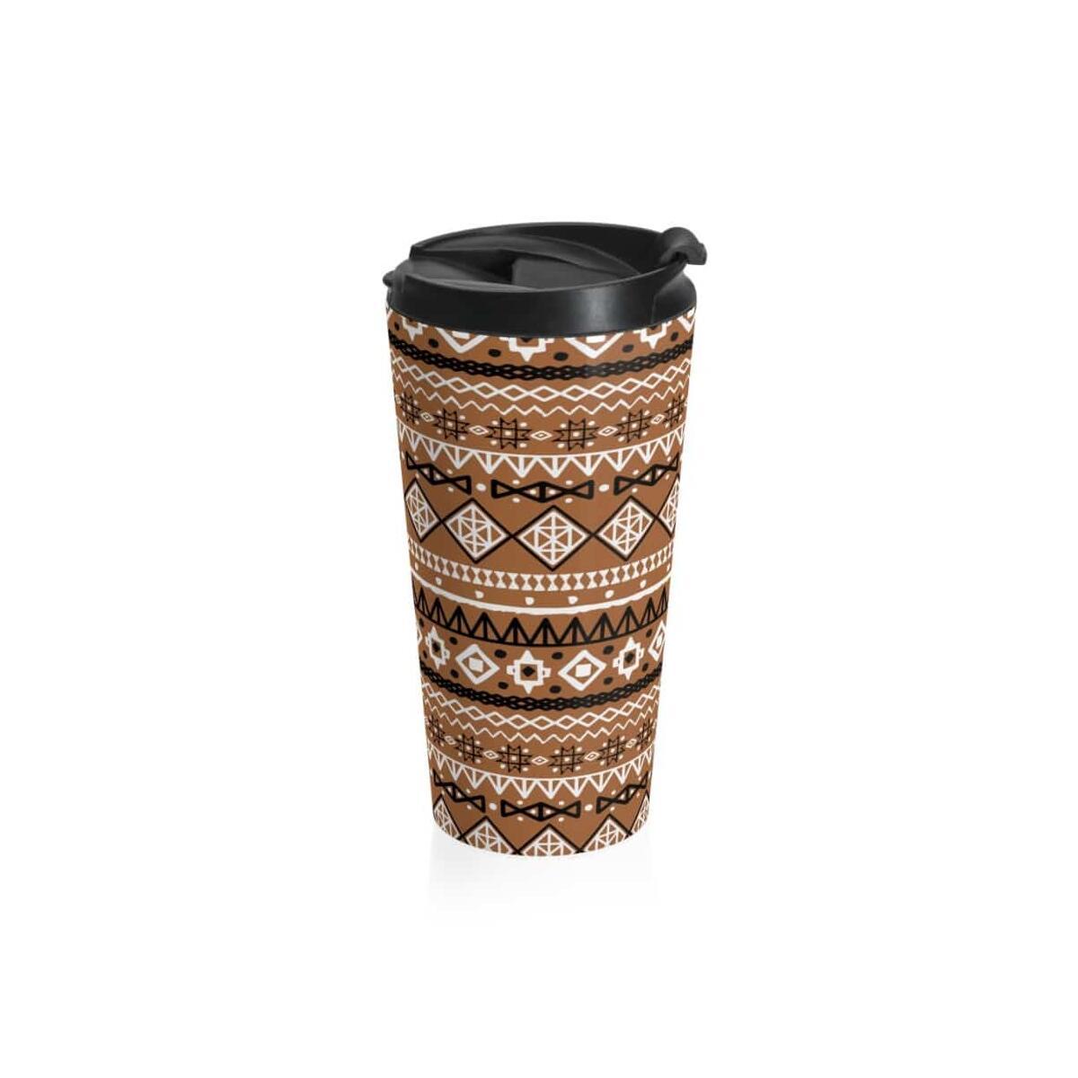 Brown African Tribal Stainless Steel Travel Mug, Travel Mug