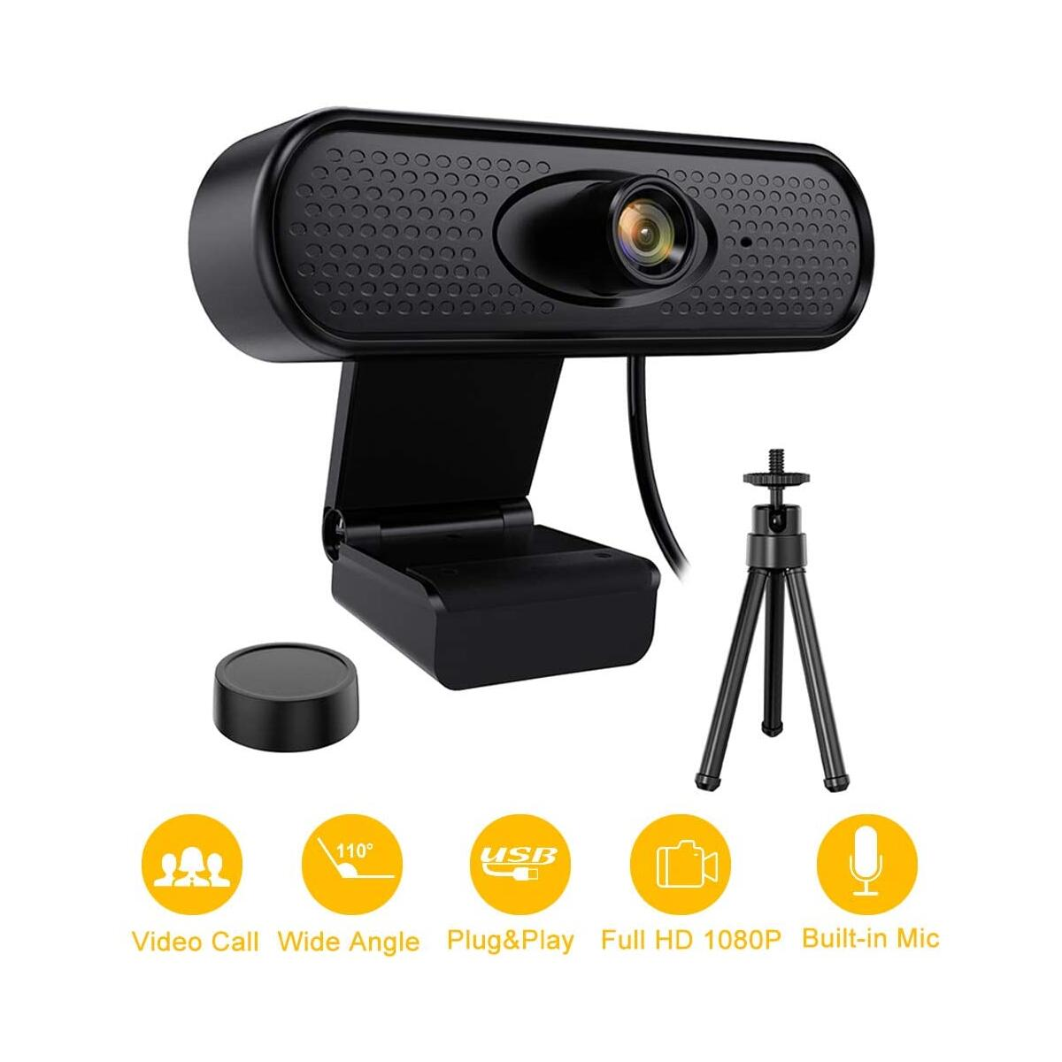 Webcam - iYAFFA 1080P HD USB Web Camera with Microphone, Tripod Streaming Webcam with 110-Degree Wide View PC Camera Angle for Video Calling, Recording, Conferencing, Gaming