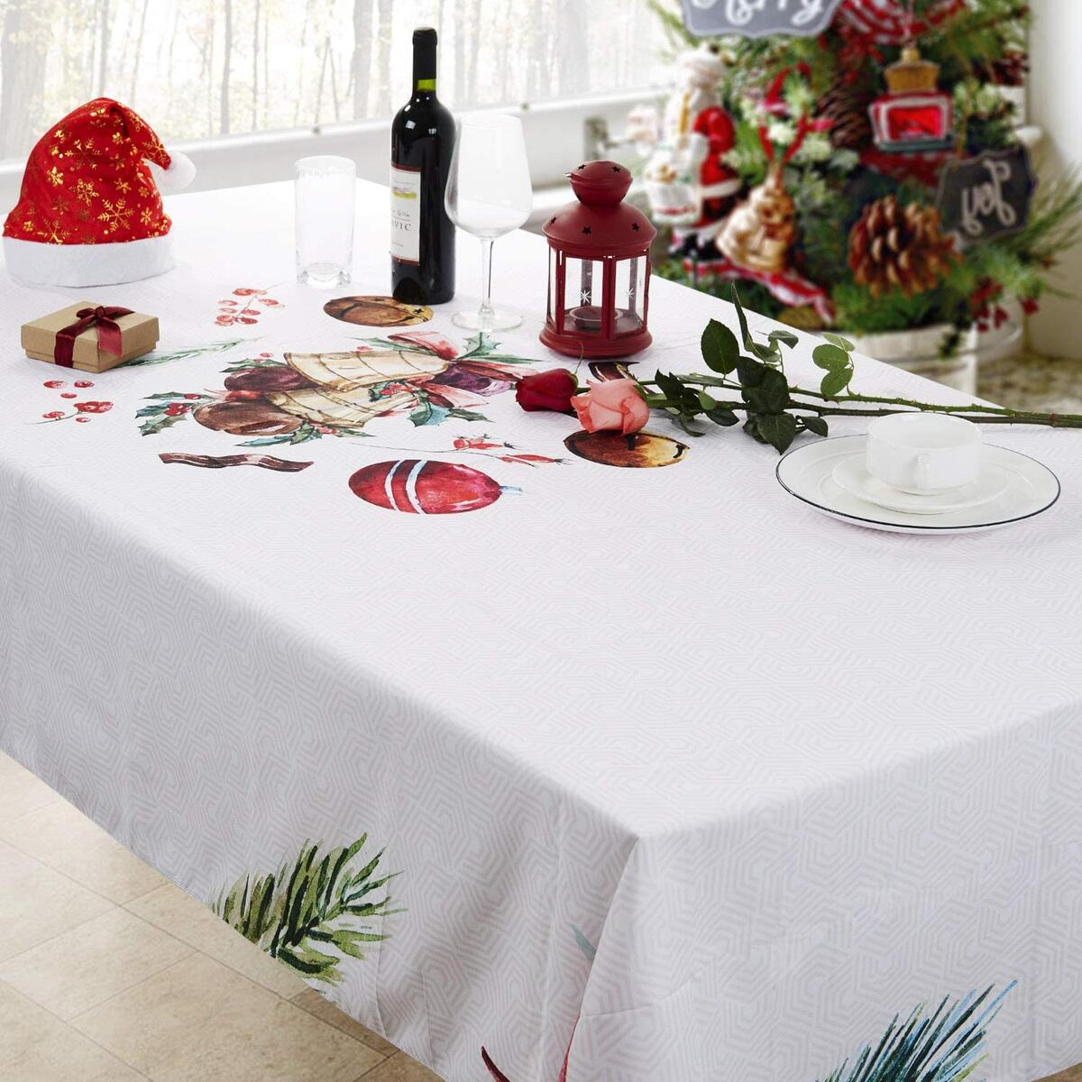 Christmas Printed Fabric Tablecloth ,Oil-Proof and Waterproof Rectangle Table Cloth, Durable and Decorative Table Cover for Christmas and Thanksgiving (55