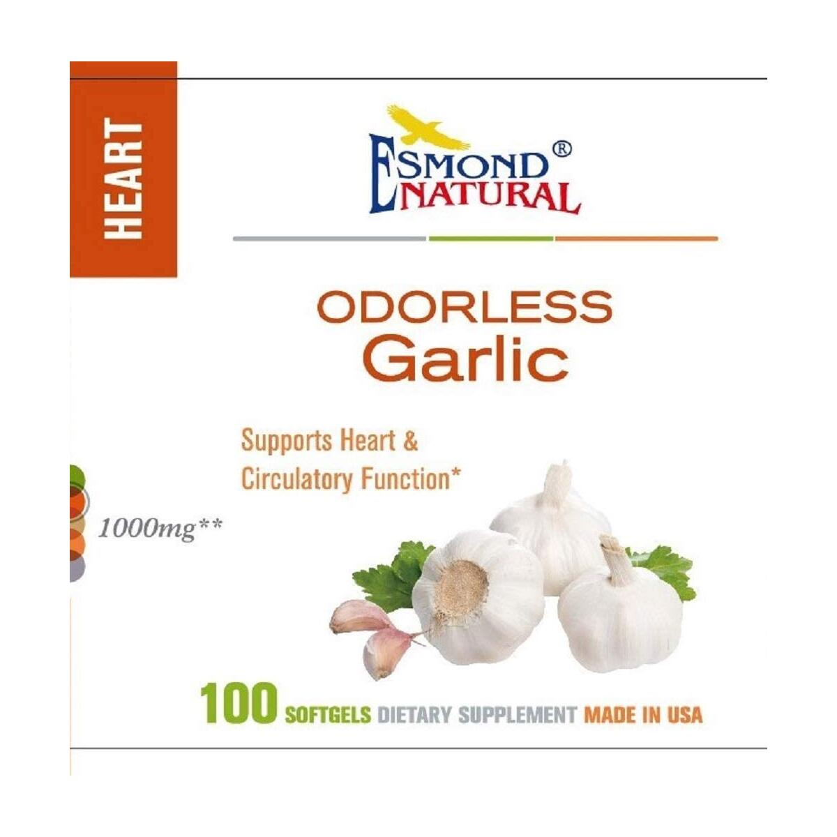 (5 Count, 25% Off) Esmond Natural: Odorless Garlic (Supports Heart & Circulatory Function), GMP, Natural Product Assn Certified, Made in USA-1000mg, 500 Softgels