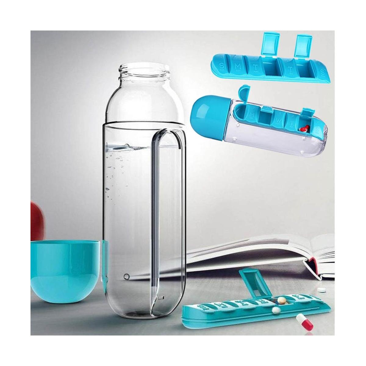 Combine Daily Pill Box Organizer with Water Bottle