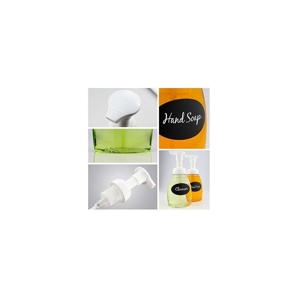 Foaming Soap Dispenser Bottles - Chalk Labels & Pen Included