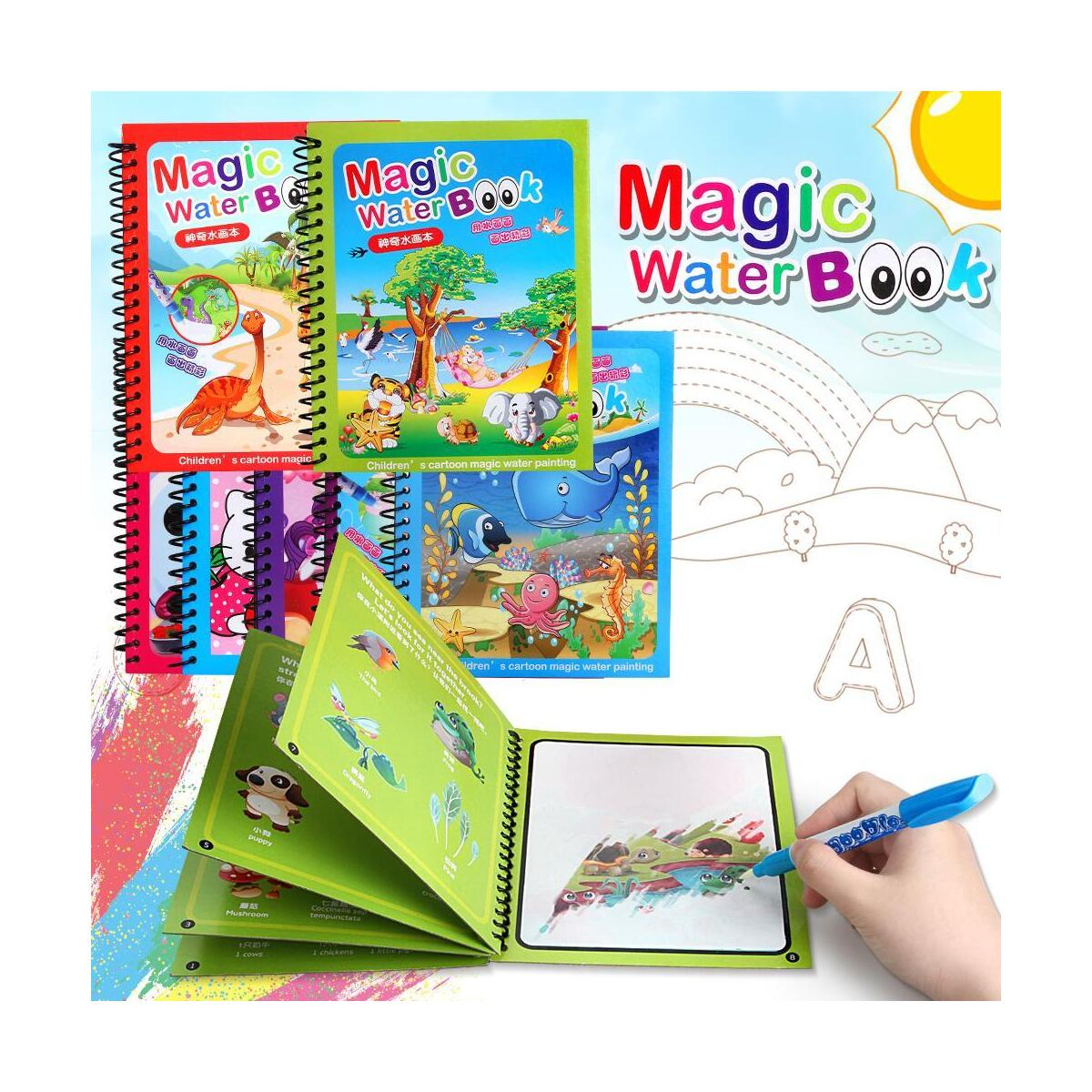 Water Coloring Doodle Book, Reusable Drawing Book with Pen Painting Board, Educational Toy Travel Kits