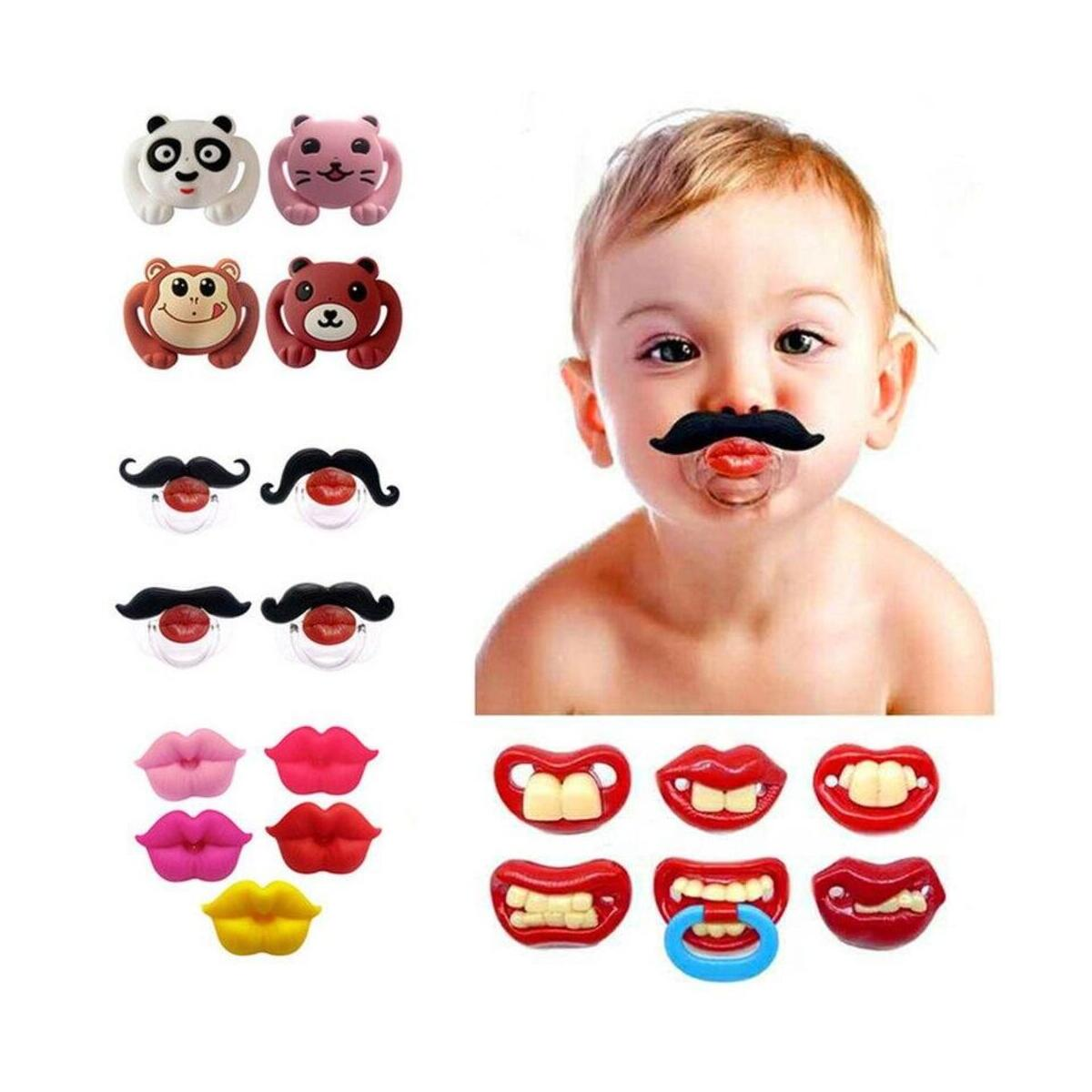 Mustache Funny Pacifier for Baby, Gentleman Mustache Pacifier Cute Baby Stuff for Newborn Infant, BPA Free Latex Free Made with Soft Silicone
