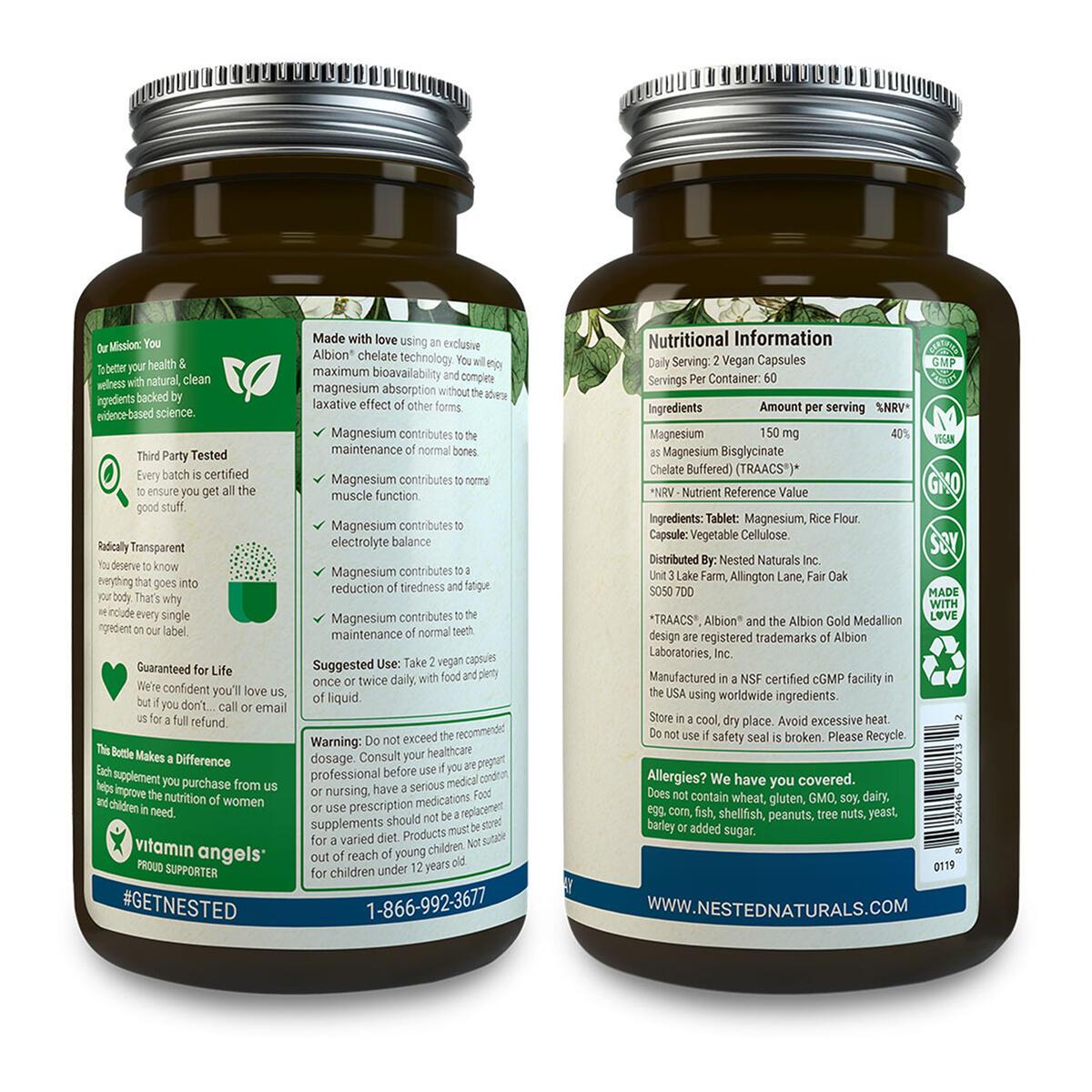 Nested Naturals Magnesium Glycinate (200 mg) | Vegan, Gluten-Free, Non-GMO