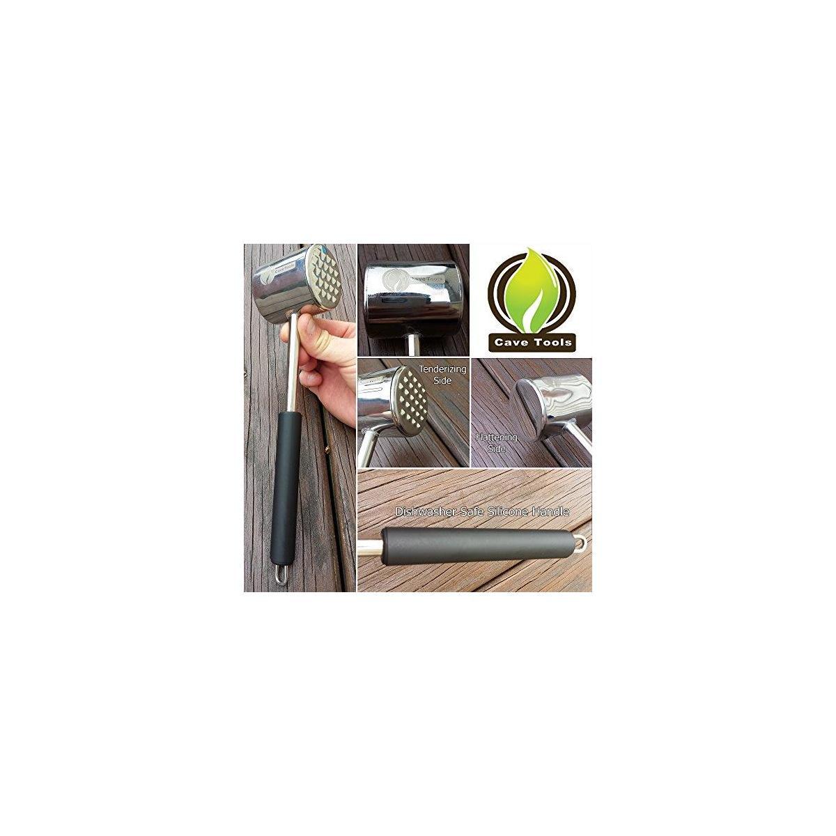 Hook Rack for BBQ Utensils + Meat Tenderizer Mallet Tool - DISHWASHER SAFE & - Hammer Pounder For Tenderizing Chicken Steak Pork & Veal - Non Slip Silicone Handle