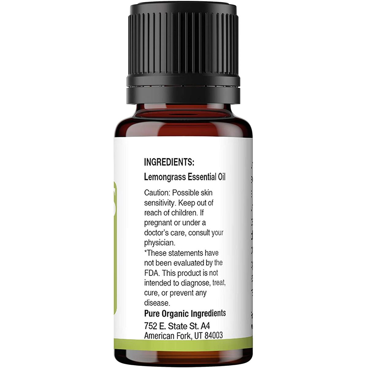 Pure Organic Ingredients Lemongrass Essential Oil (15 ml), Convenient Dropper Cap Bottle, Supports Digestion, Ideal Massage Oil, Natural Cleansing & Detoxifying Agent, Citrus Aroma