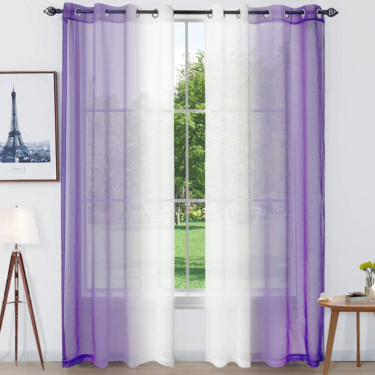 Naturoom Purple Ombre Sheer Curtains Faux Linen Grommet Light Filtering and Privacy Sheer Gradient Window Curtain Pair for Bedroom Living Room, Set of 2 Panels (Each 52 x 84 Inch, Purple)