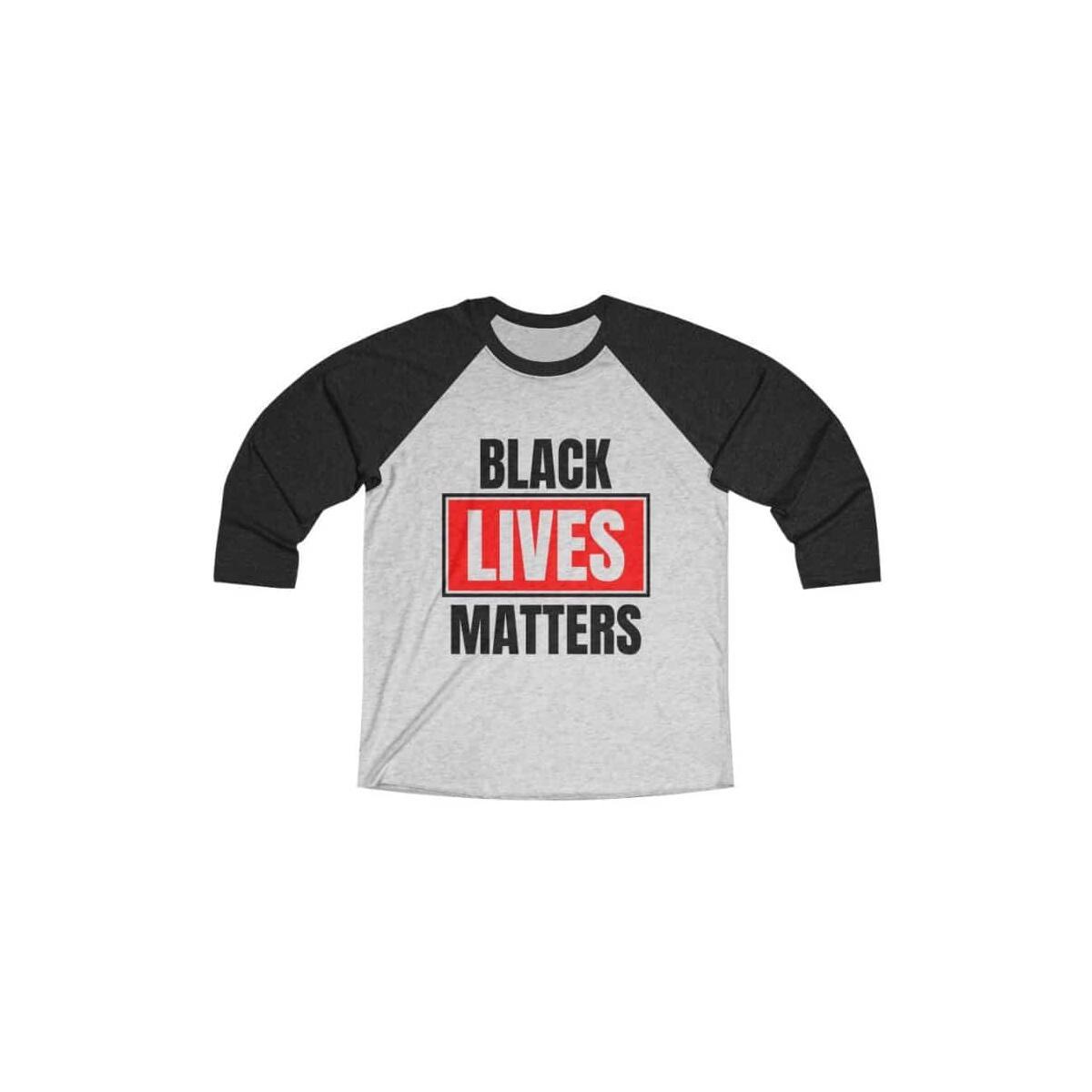 Afrocentric Black Lives Matters Tri-Blend Raglan Tee, Vintage Black / Heather White / M