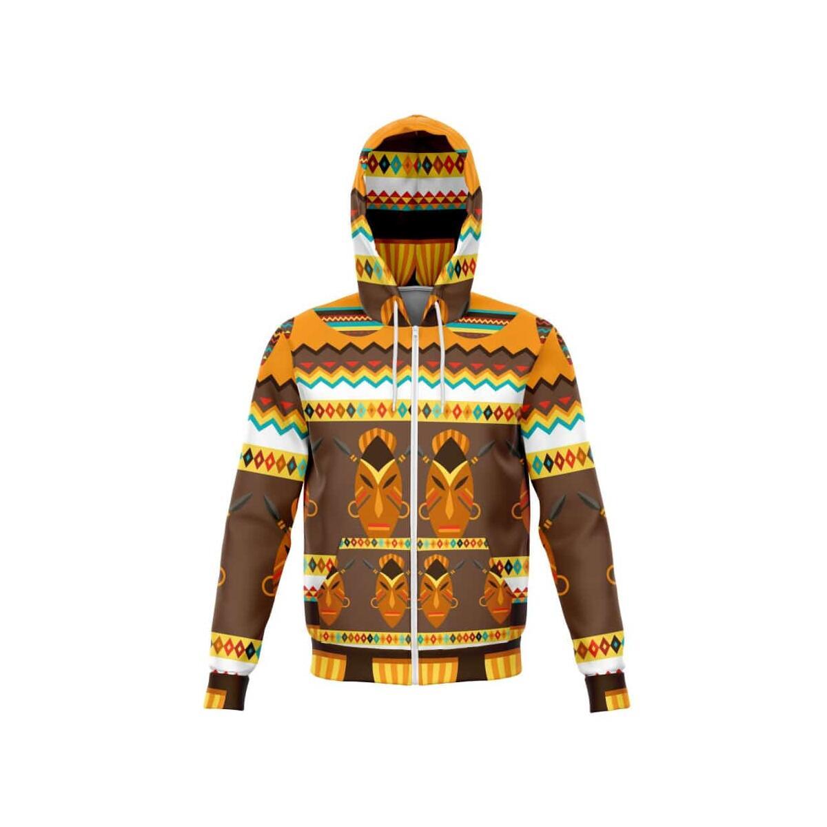African Djembe Masks Zip-Up Hoodie, S