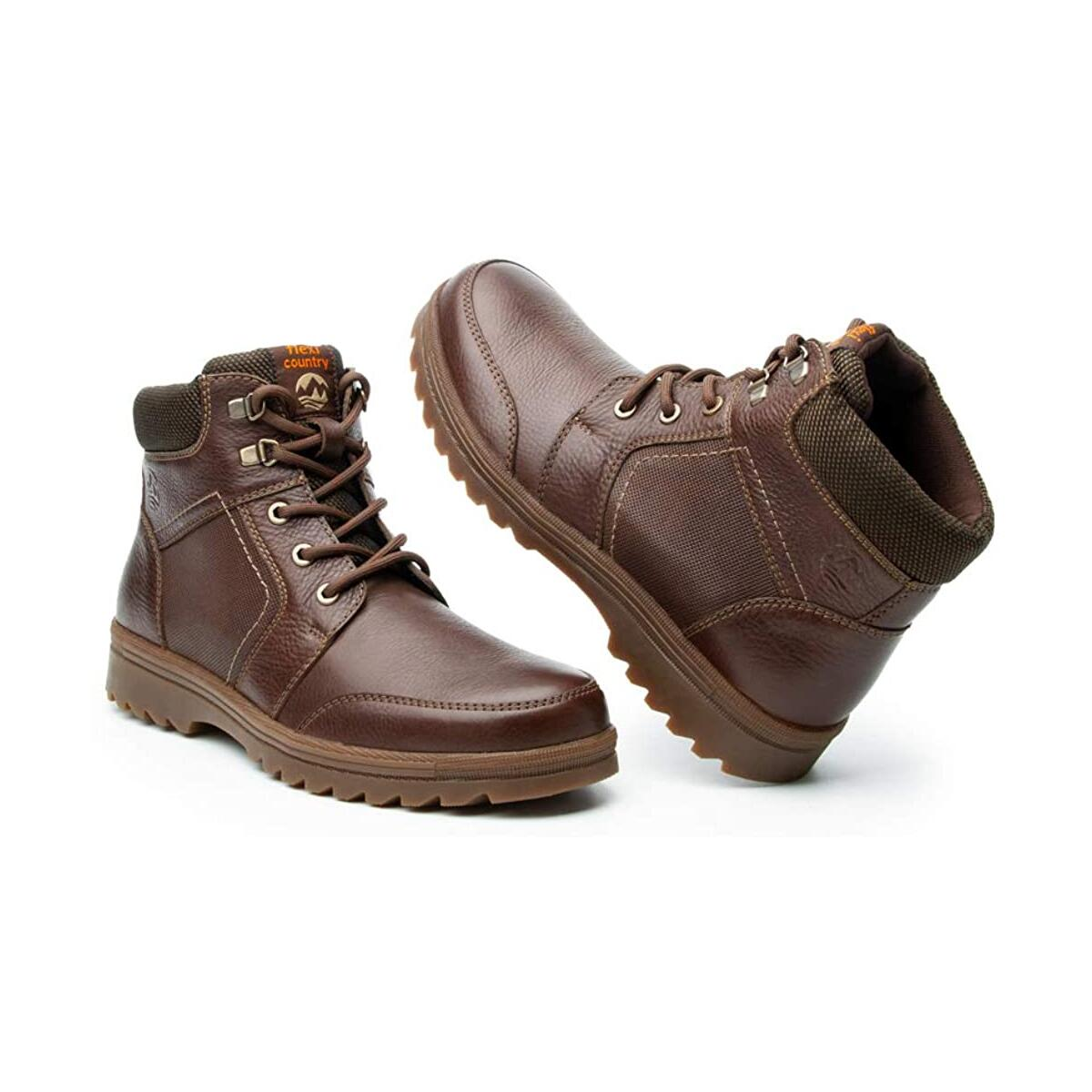 Flexi Mens Brown Leather Combat Boots - for Hiking, Working, Bikers and Snow with Non Slip Thick Deep Rubber Tread