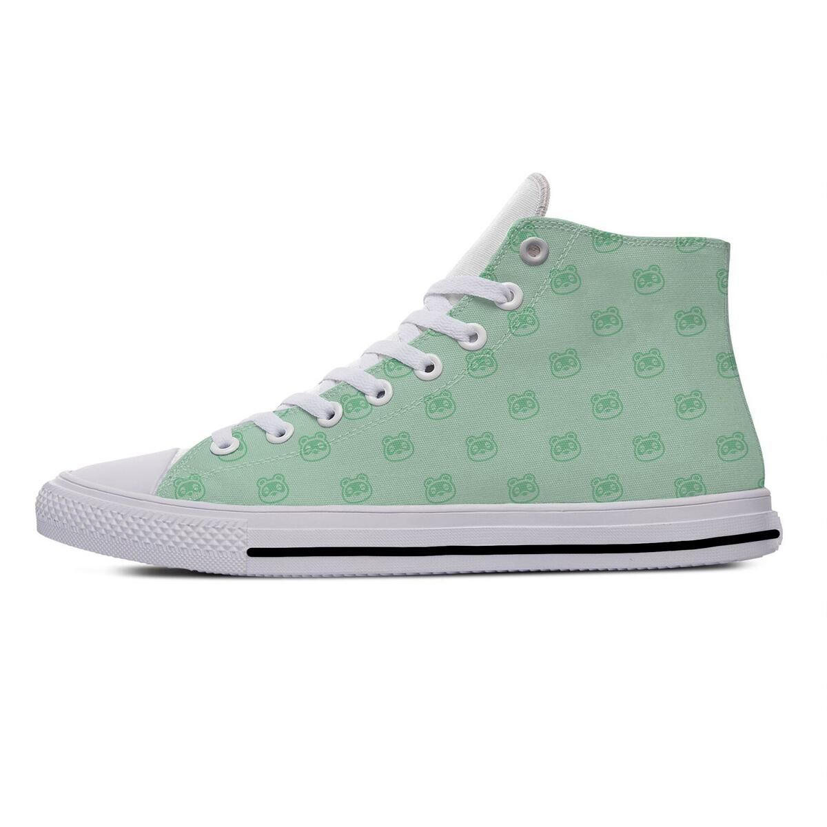Animal Crossing Canvas Converse Style Shoes, Teal Light Green Leaves / 5