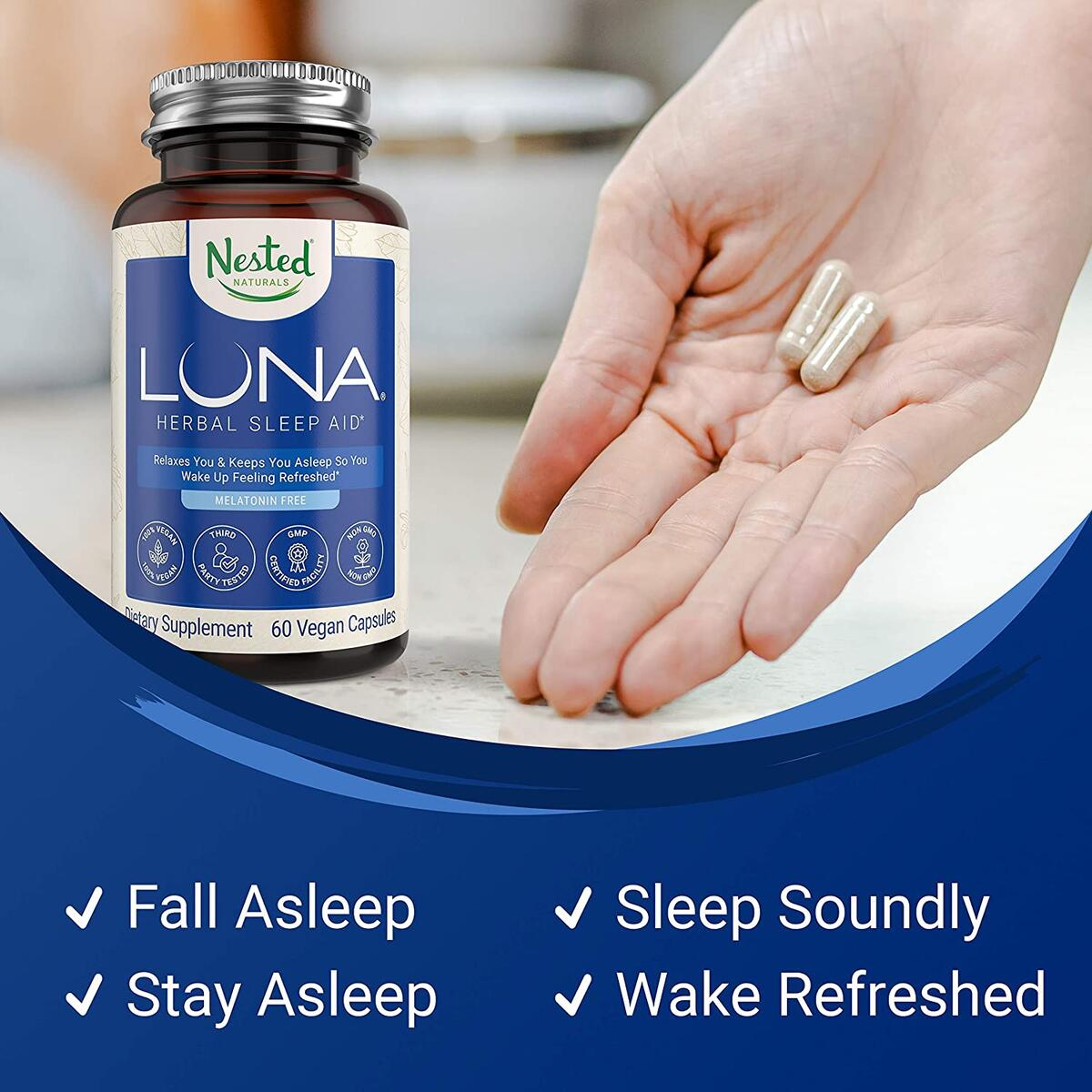 Nested Naturals Luna Melatonin-Free Sleep Aid Supplement | Natural Sleeping Pill for Adults | Herbal Nighttime Capsule to Help You Fall Asleep