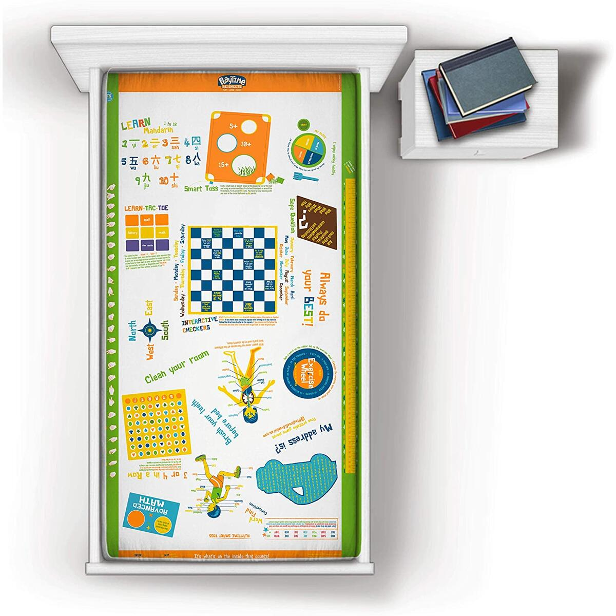 Playtime Gender Neutral Interactive 3 Piece Twin Sheet Set for Kids with Over 60 Fun and Educational Games & Puzzles