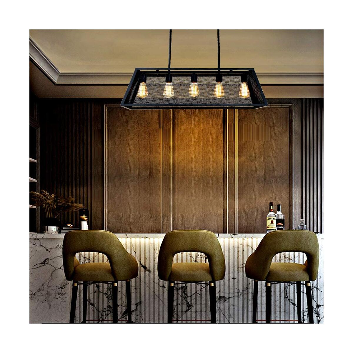 Farmhouse Kitchen Island Lighting Industrial Dining Room Light, 31.5'' Matte Black 5-Light Linear Chandeliers Mesh Net Ceiling Hanging Light Metal Finish, Pool Table Pendant Light Fixture