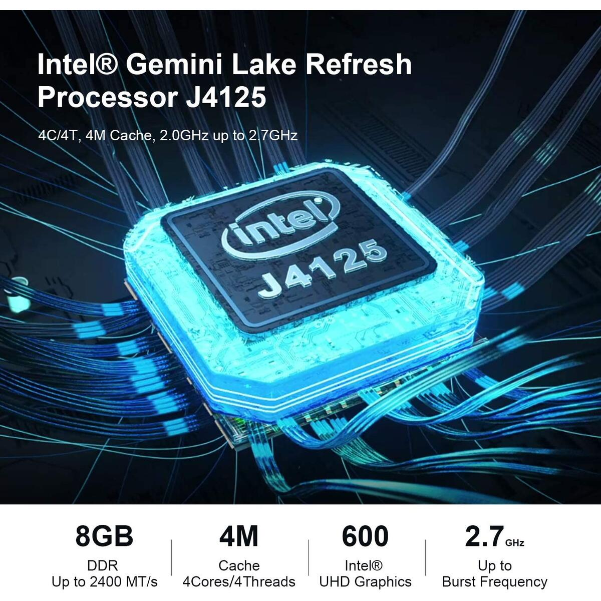 Mini PC Intel Celeron J4125 Windows 10 Pro (up to 2.7GHz) 8GB DDR4/128GB SSD Beelink GK55 Mini Desktop Computer Support Dual displays 4K@60hz HDMI, WiFi, Gigabit Ethernet (8GB+128GB/Celeron J4125)