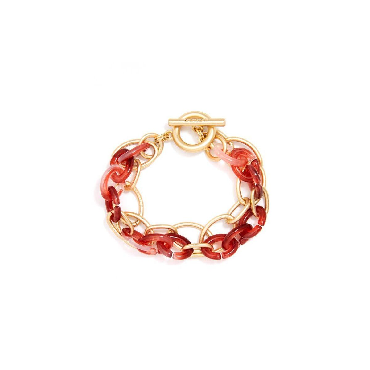 Oval Links & Marbled Resin Bracelet Jewelry, Red