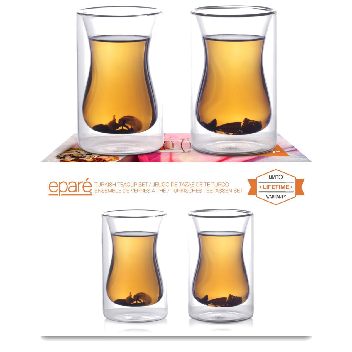 Eparé 2 oz Double Wall Espresso Cups (Set of 4) (Handle)