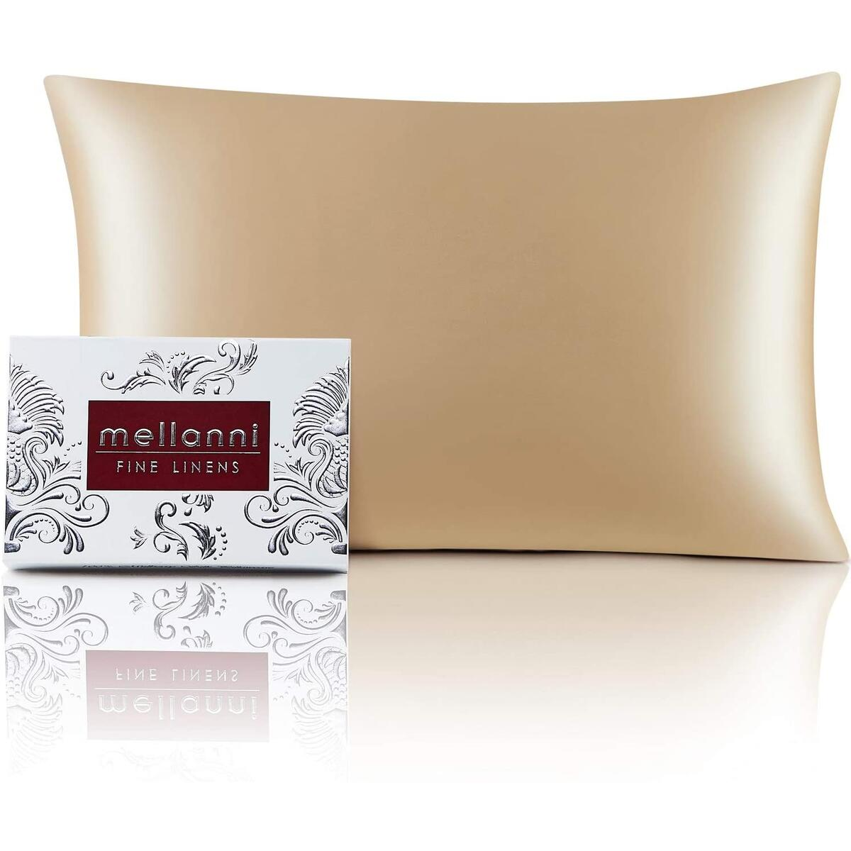 Mellanni Silk Pillowcase for Hair and Skin - Both Sides 100% Pure Natural Mulberry Silk - 19 Momme - Hidden Zipper Closure Pillow Case - (King 20