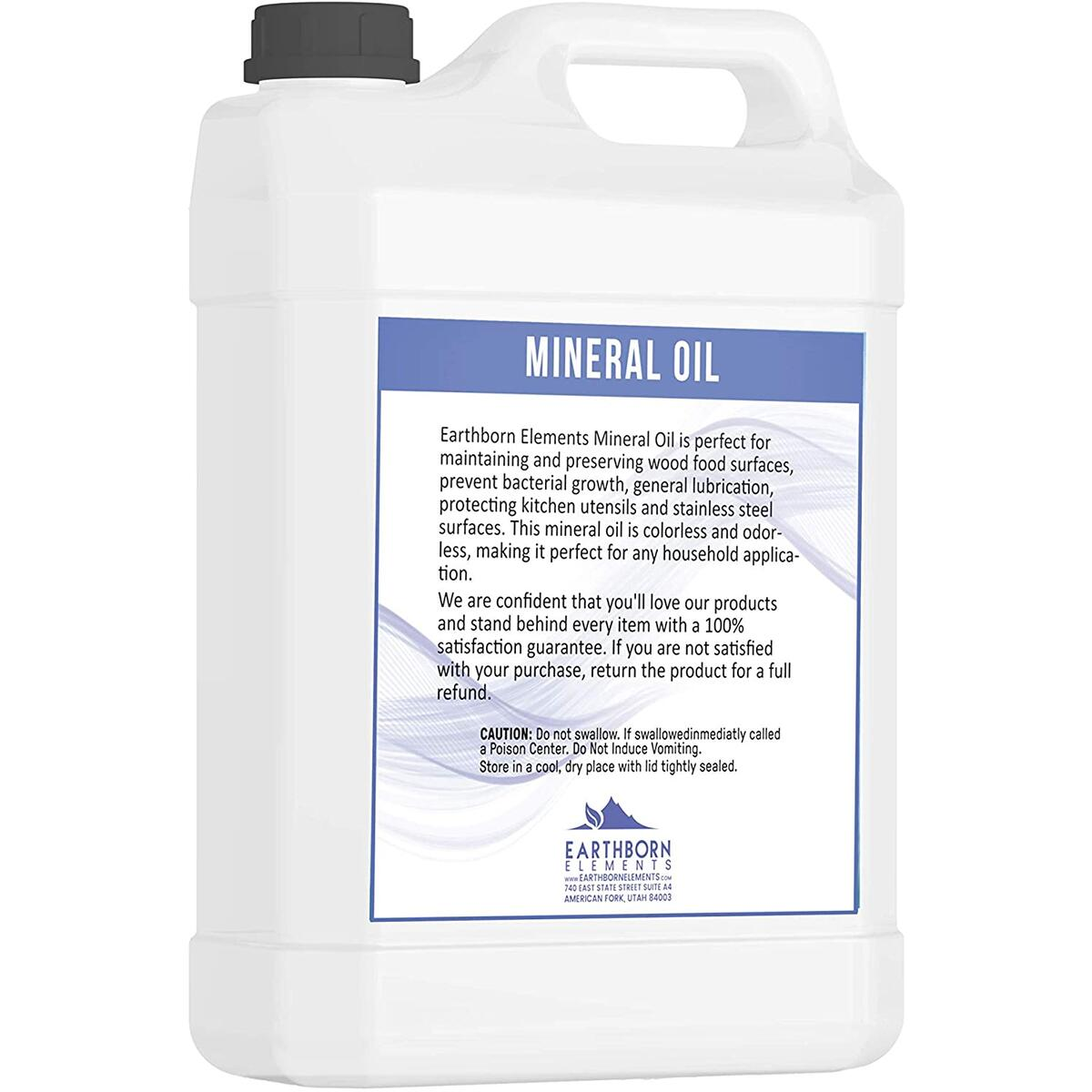 Mineral Oil (1 Gallon) by Earthborn Elements, Food & USP Grade, for Cutting Boards, Butcher Blocks, Counter Tops, Wooden Utensils