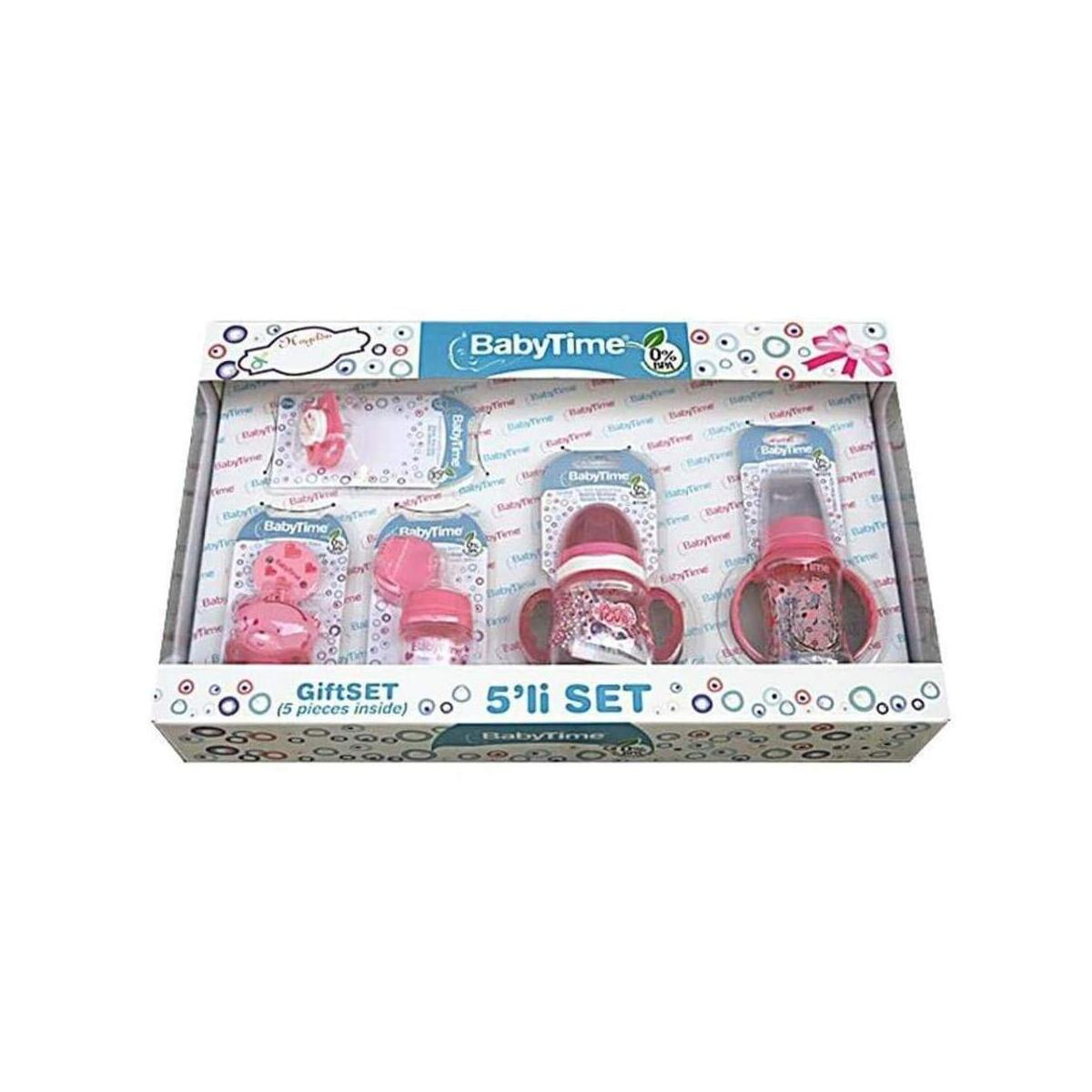 Babytime Pink Newborn Baby Bottle Feeding Starter Gift Set