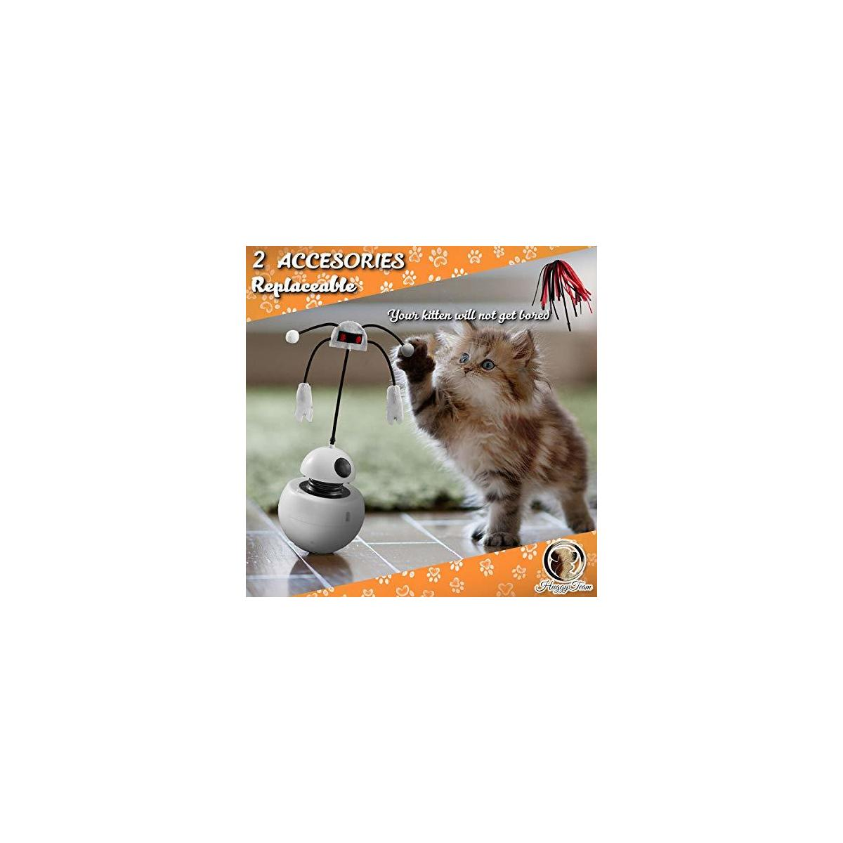 HuggyTeam Smart Interactive Cat Toy - Light Pointer for Cats, 360 Degree Self Rotating Ball, Sound, Accessory Replaceable. Free- Fish Toy. Every Detail Stimulate Hunting Instinct for Your Cats.