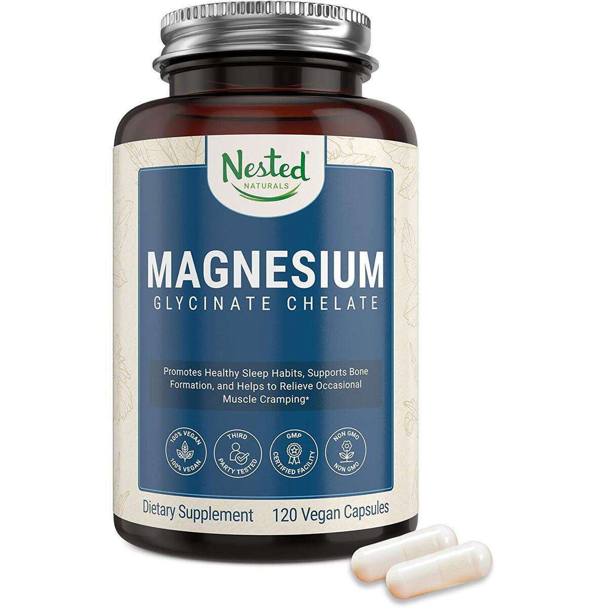 Nested Naturals Magnesium Glycinate 200mg | Non-Laxative High Absorption Vegan Capsules |  Non-GMO 100% Chelated Bisglycinate