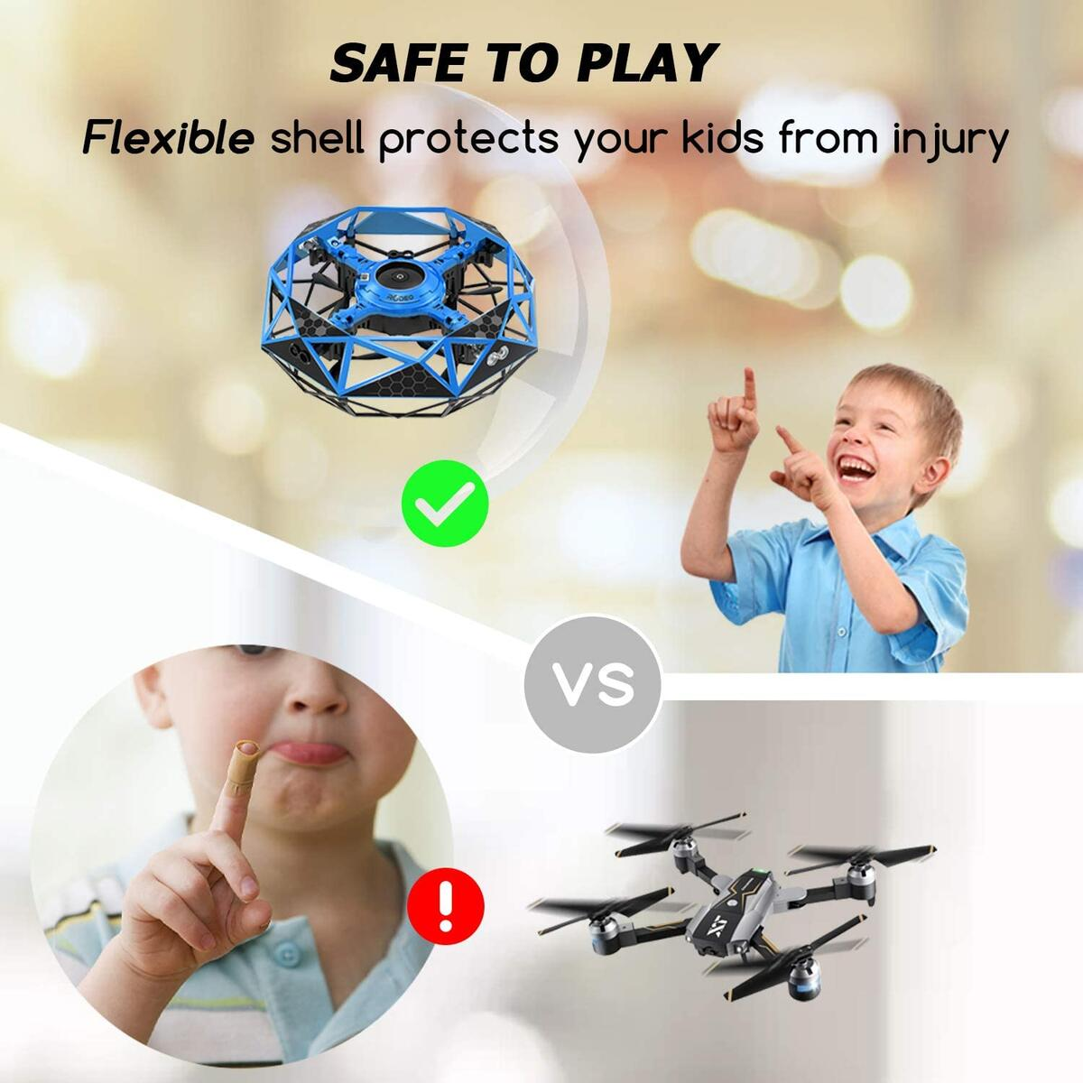 【DON'T USE COUPON!】Hand Operated Drone for Kids Toddlers Adults - Hands Free Mini Drones with 6 Sensors, Easy UFO Flying Ball Toys for Boys and Girls, Self Flying Drone 6 7 8 9 10 11 Years Old Kids